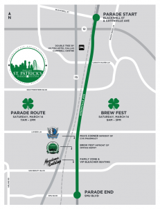 2015 Dallas St.Patricks Day Parade Route
